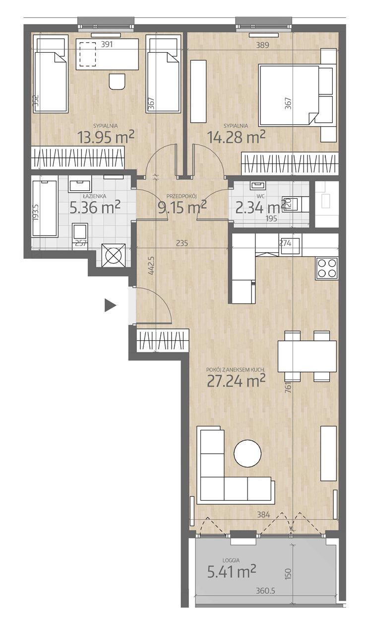 rzut mieszkania numer 27