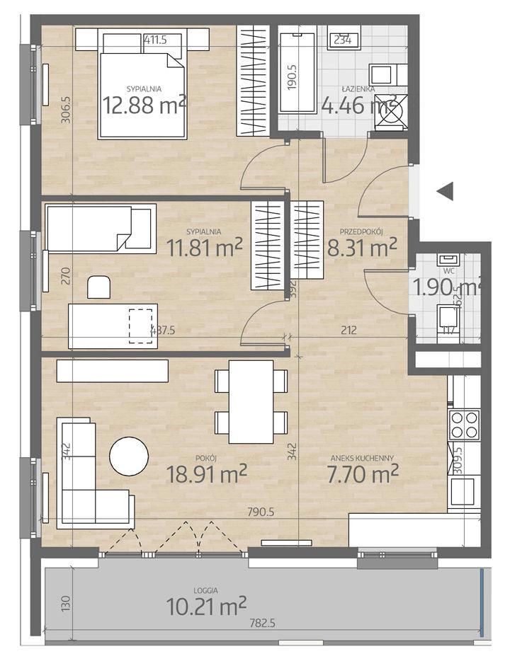 rzut mieszkania numer 31