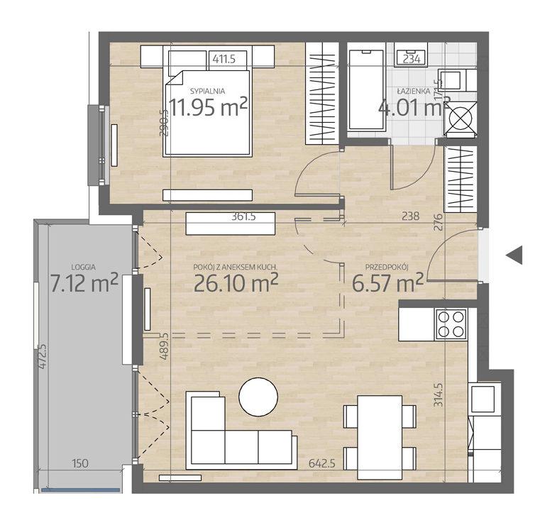 rzut mieszkania numer 42