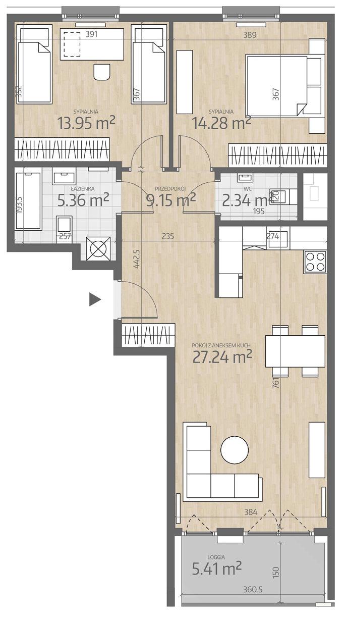 rzut mieszkania numer 45