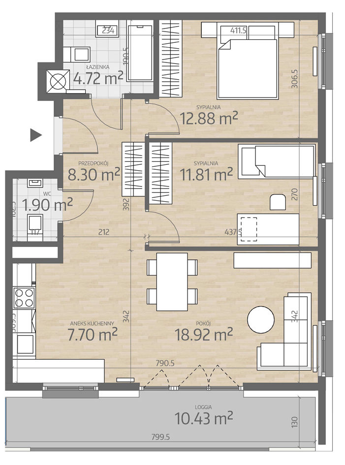 rzut mieszkania numer 48