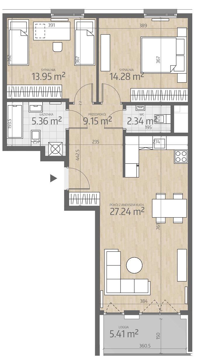 rzut mieszkania numer 54