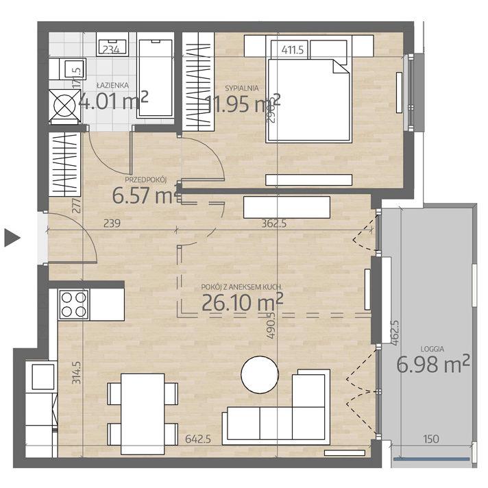rzut mieszkania numer 55