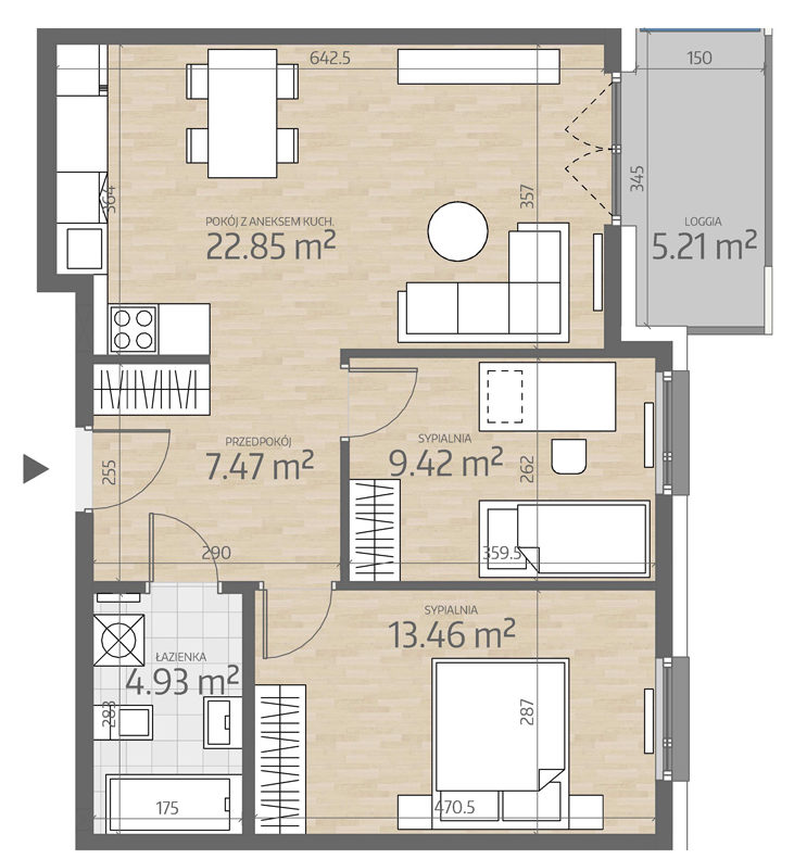 rzut mieszkania numer 56