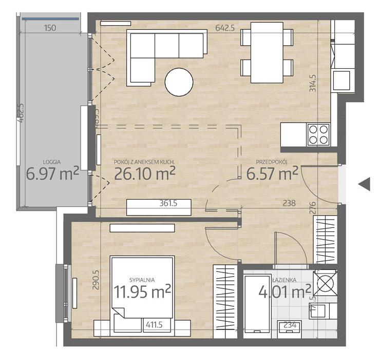 rzut mieszkania numer 61