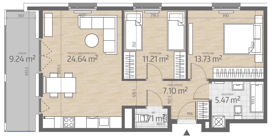 rzut mieszkania numer 62
