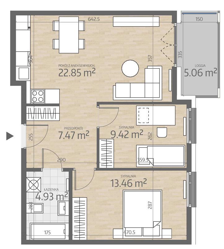 rzut mieszkania numer 65