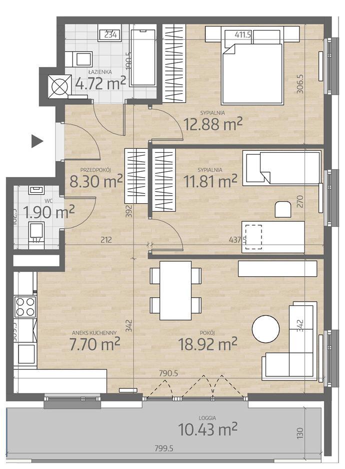 rzut mieszkania numer 66