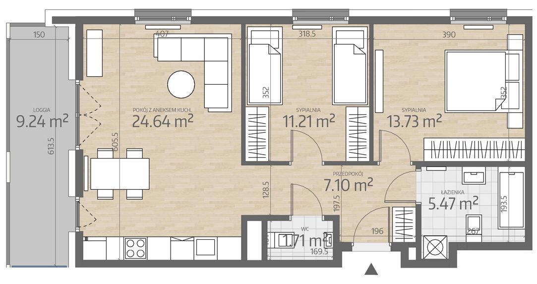 rzut mieszkania numer 71