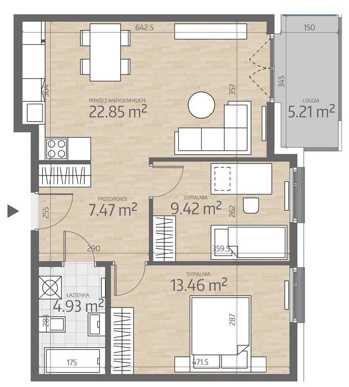 rzut mieszkania numer 83