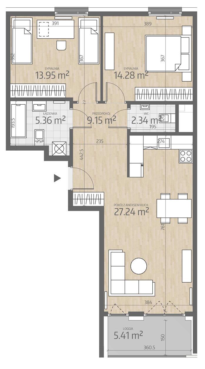 rzut mieszkania numer 90
