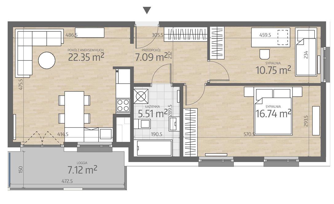 rzut mieszkania numer 96