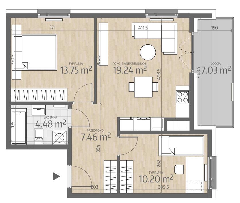 rzut mieszkania numer 99