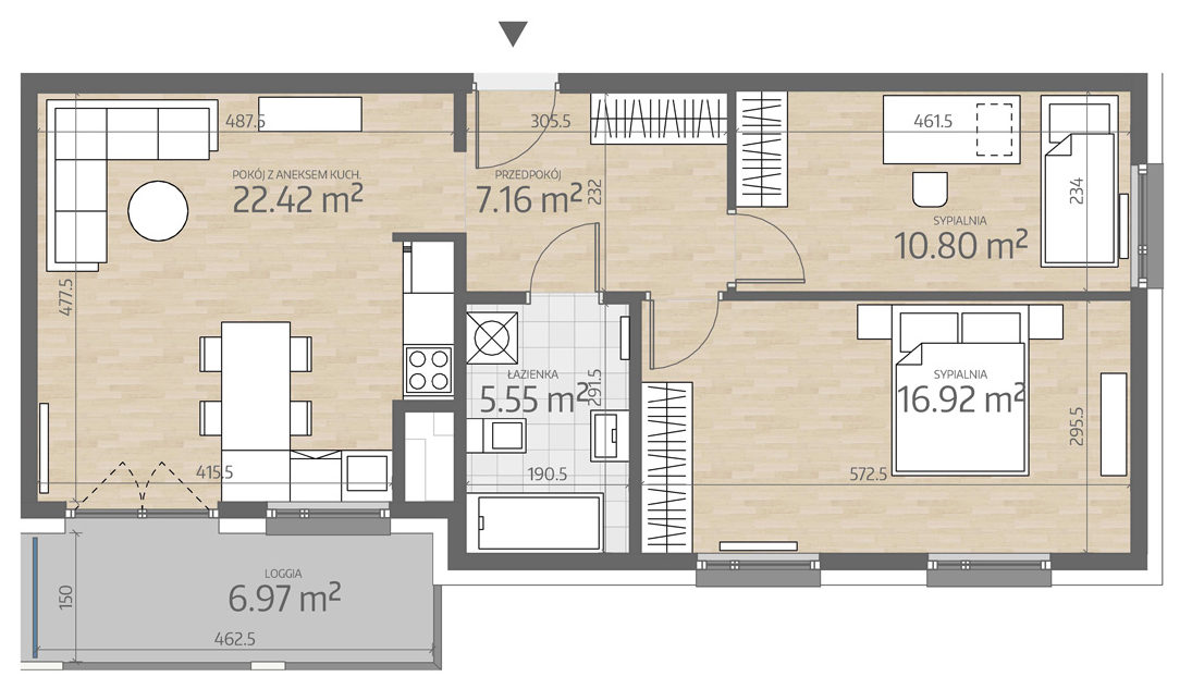 rzut mieszkania numer 100
