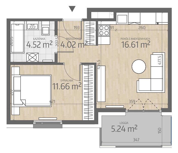 rzut mieszkania numer 101