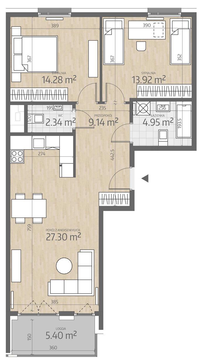 rzut mieszkania numer 102