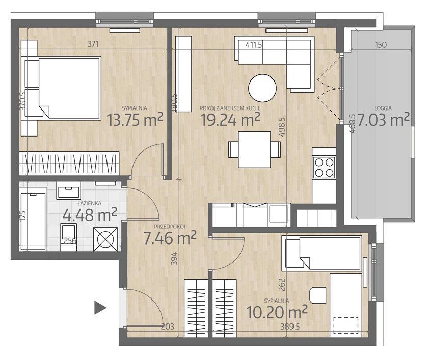 rzut mieszkania numer 103