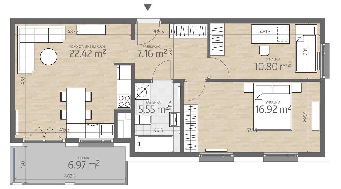 rzut mieszkania numer 104