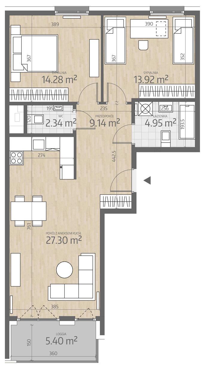 rzut mieszkania numer 106