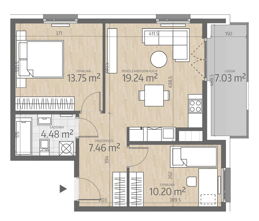 rzut mieszkania numer 107