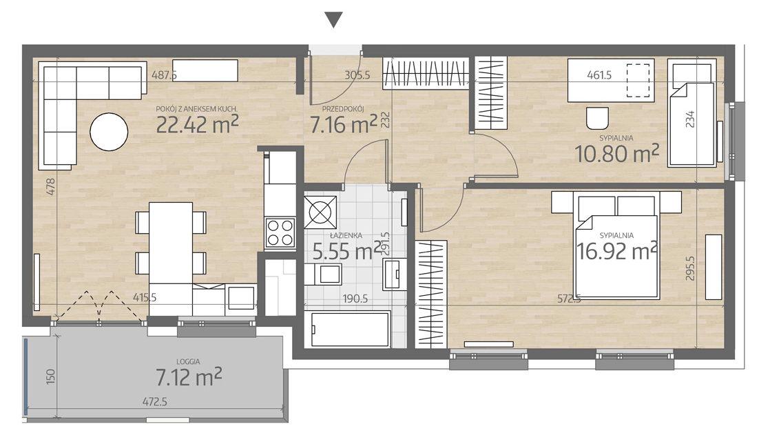 rzut mieszkania numer 108