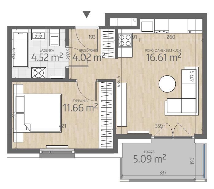 rzut mieszkania numer 109