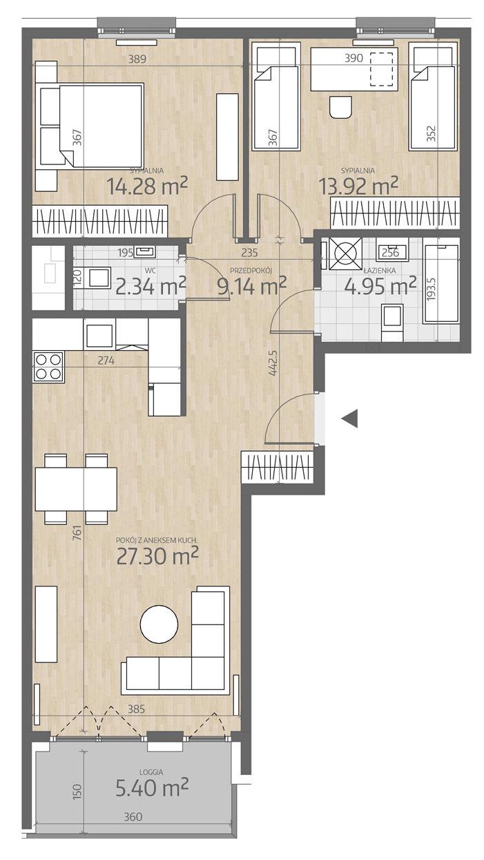 rzut mieszkania numer 110