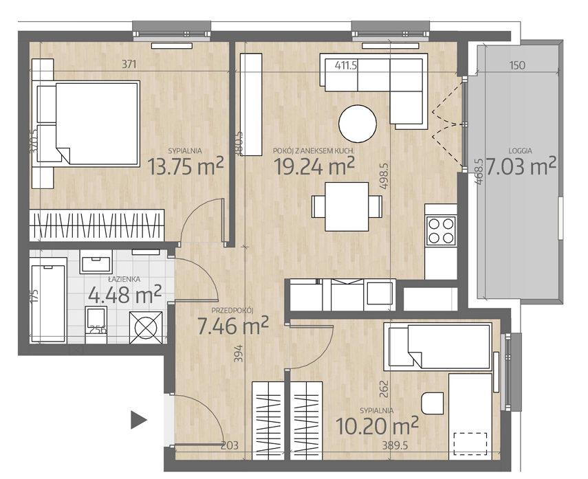 rzut mieszkania numer 111