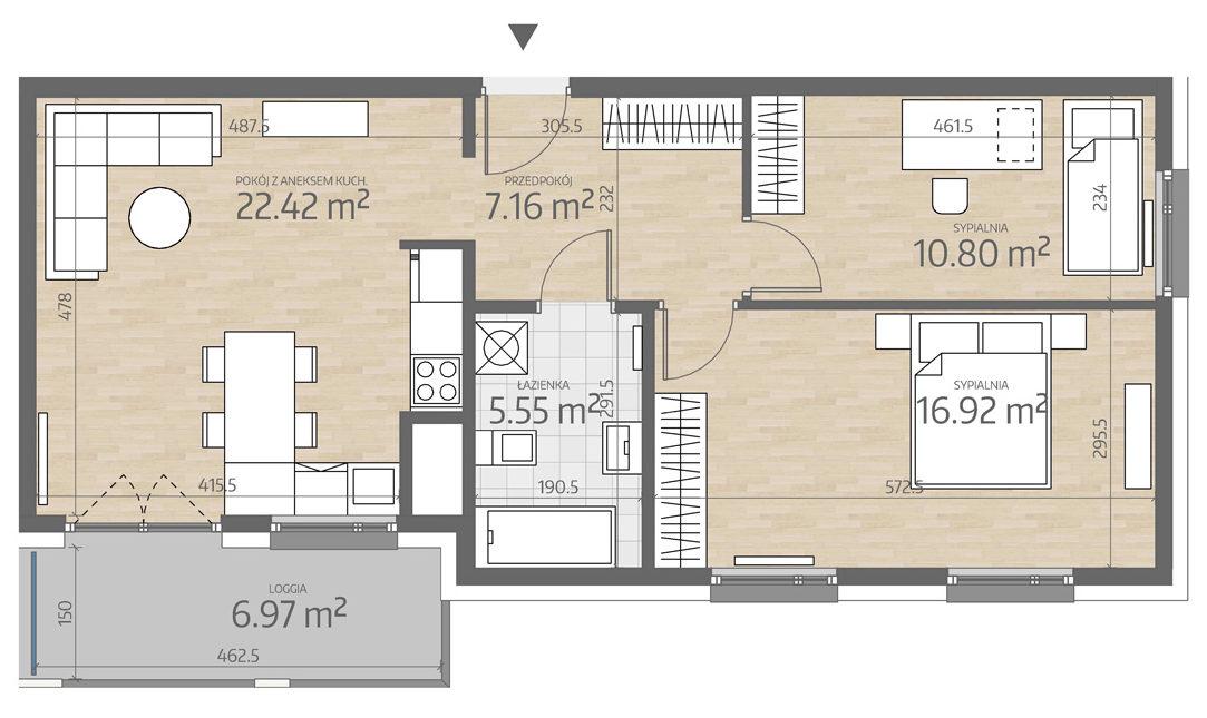 rzut mieszkania numer 112