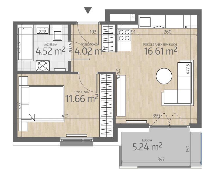 rzut mieszkania numer 113