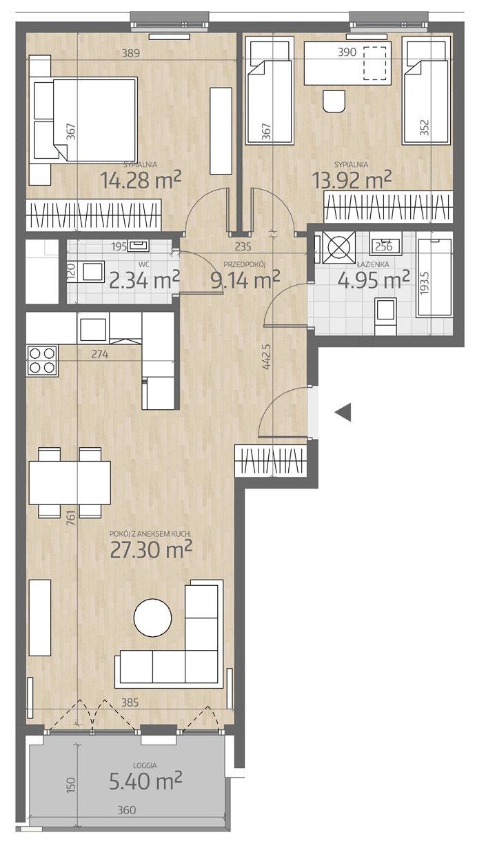 rzut mieszkania numer 114