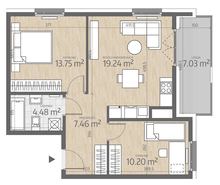 rzut mieszkania numer 115