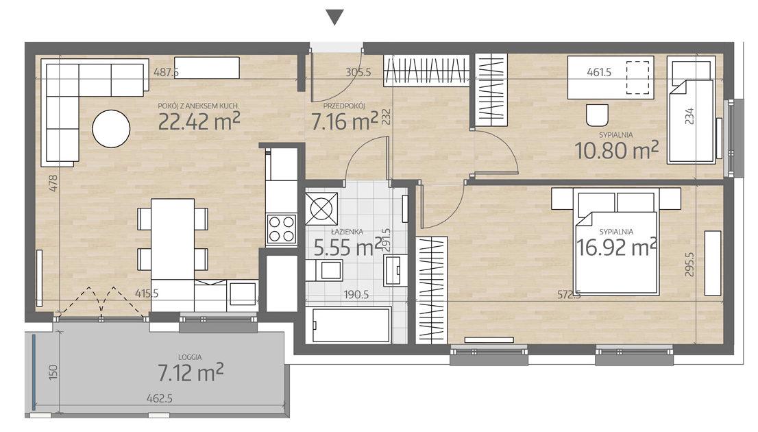 rzut mieszkania numer 116
