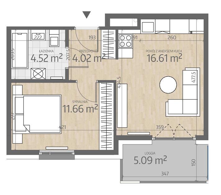 rzut mieszkania numer 117