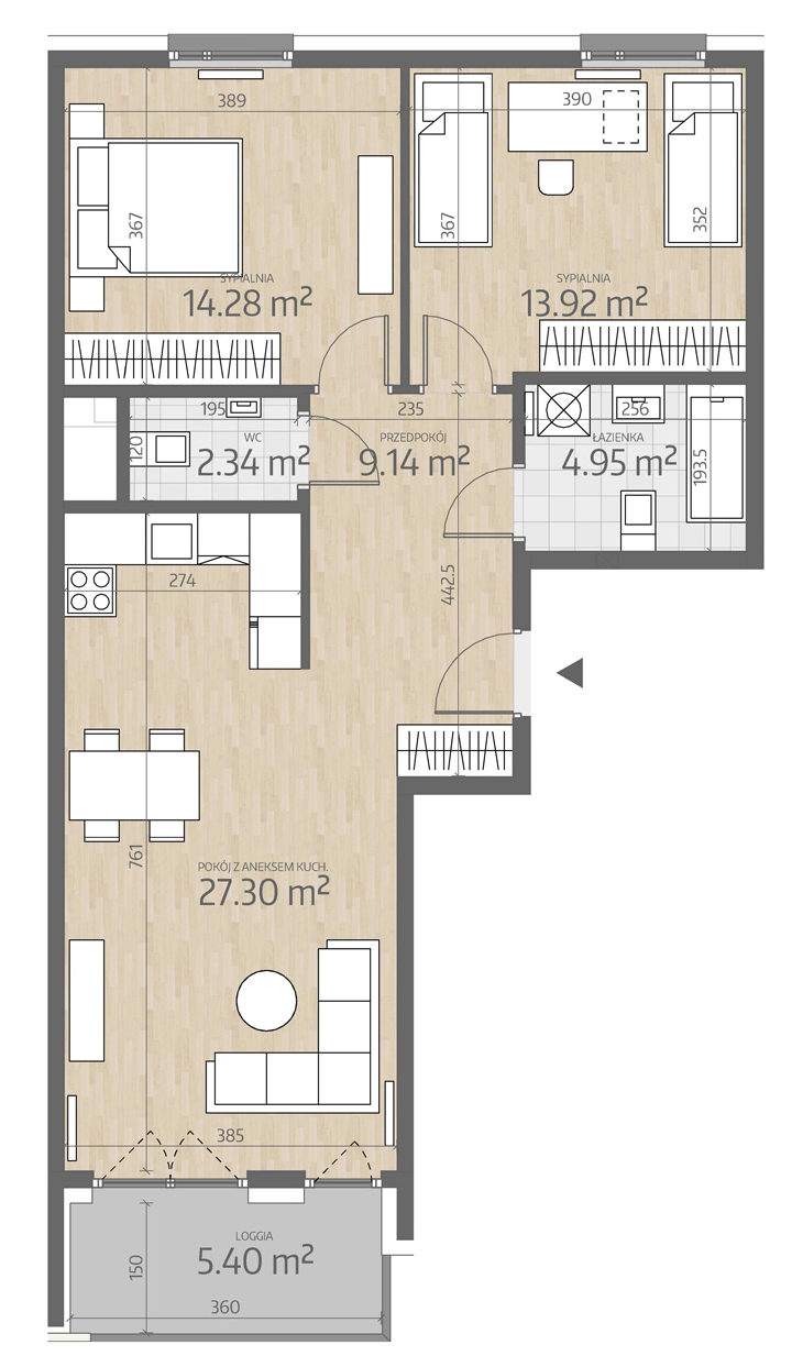 rzut mieszkania numer 118