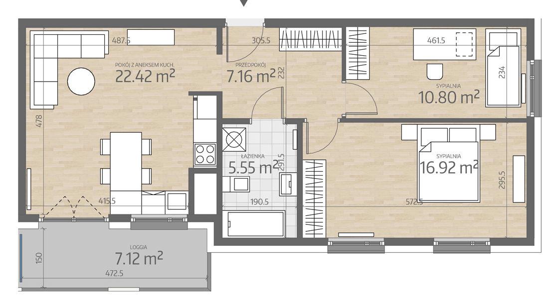 rzut mieszkania numer 120