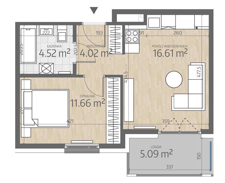rzut mieszkania numer 121