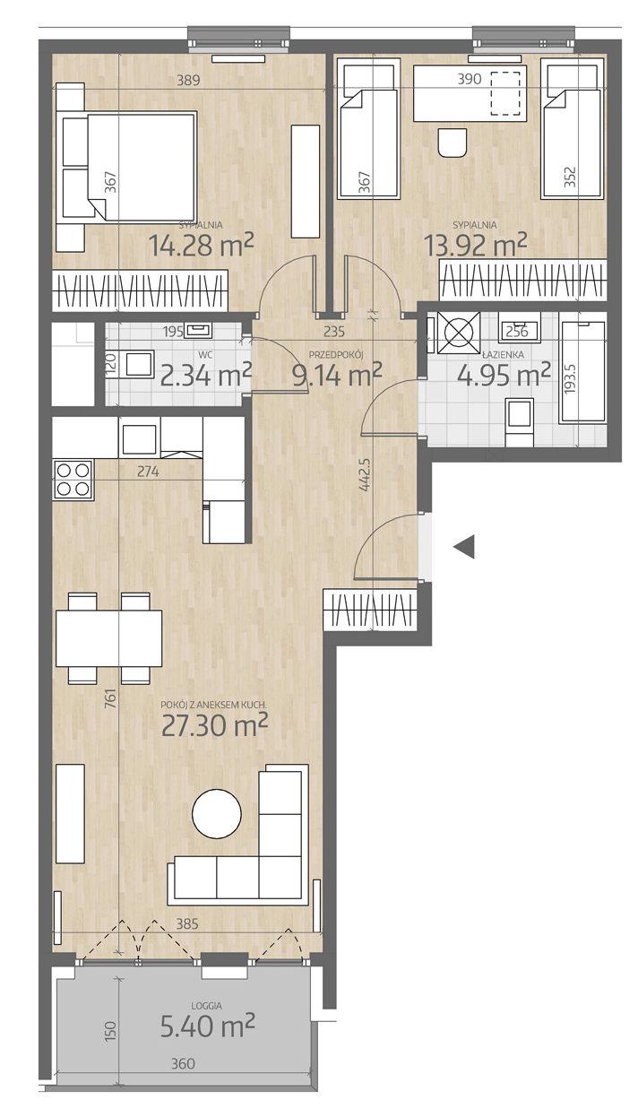 rzut mieszkania numer 122