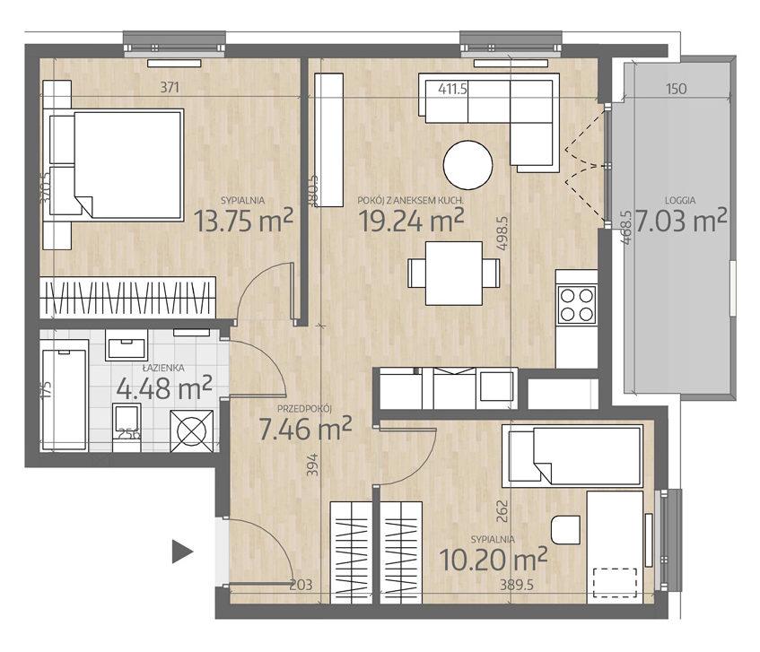 rzut mieszkania numer 123