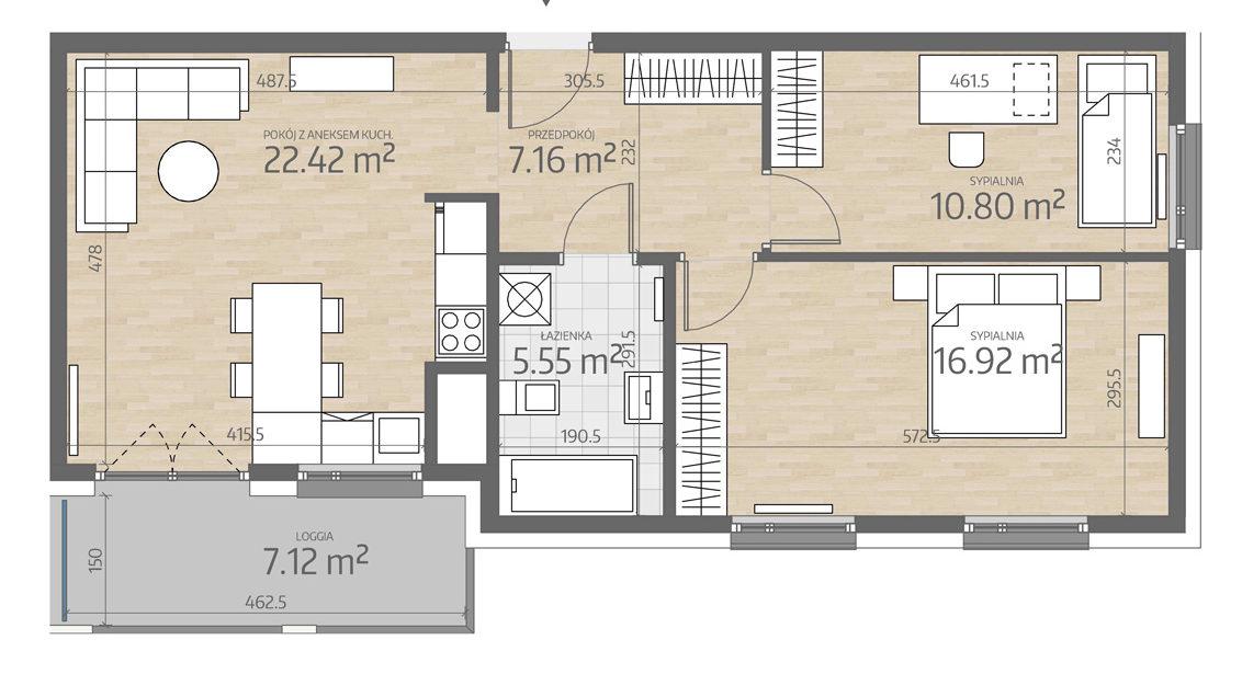 rzut mieszkania numer 124