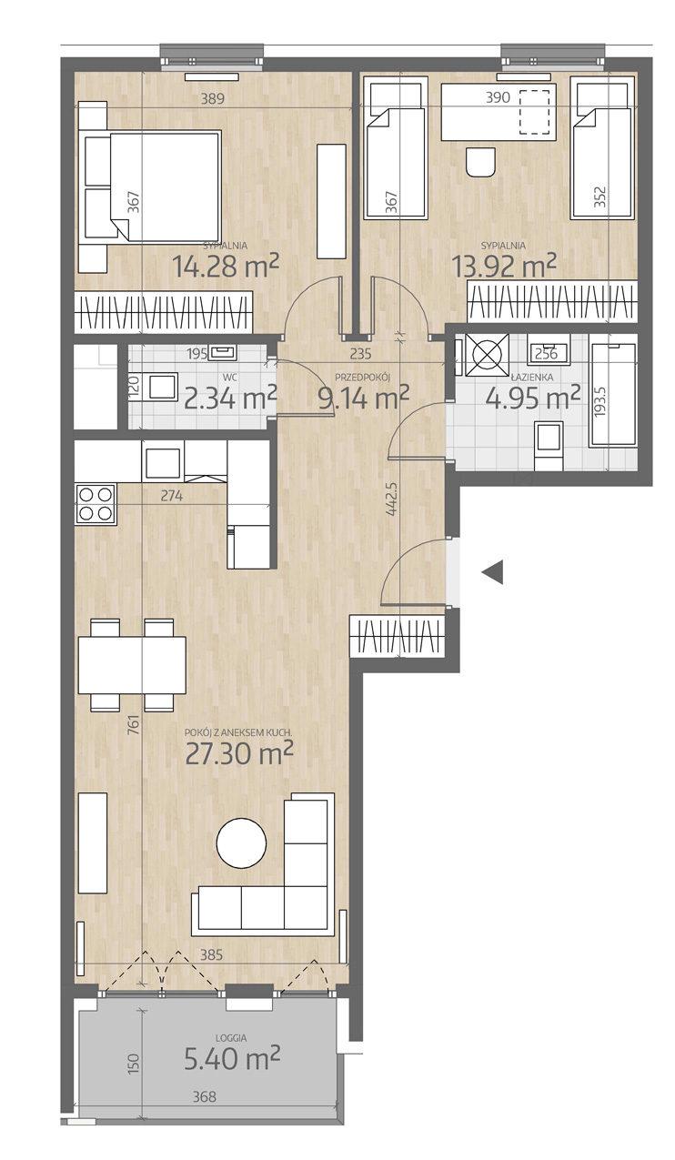 rzut mieszkania numer 126