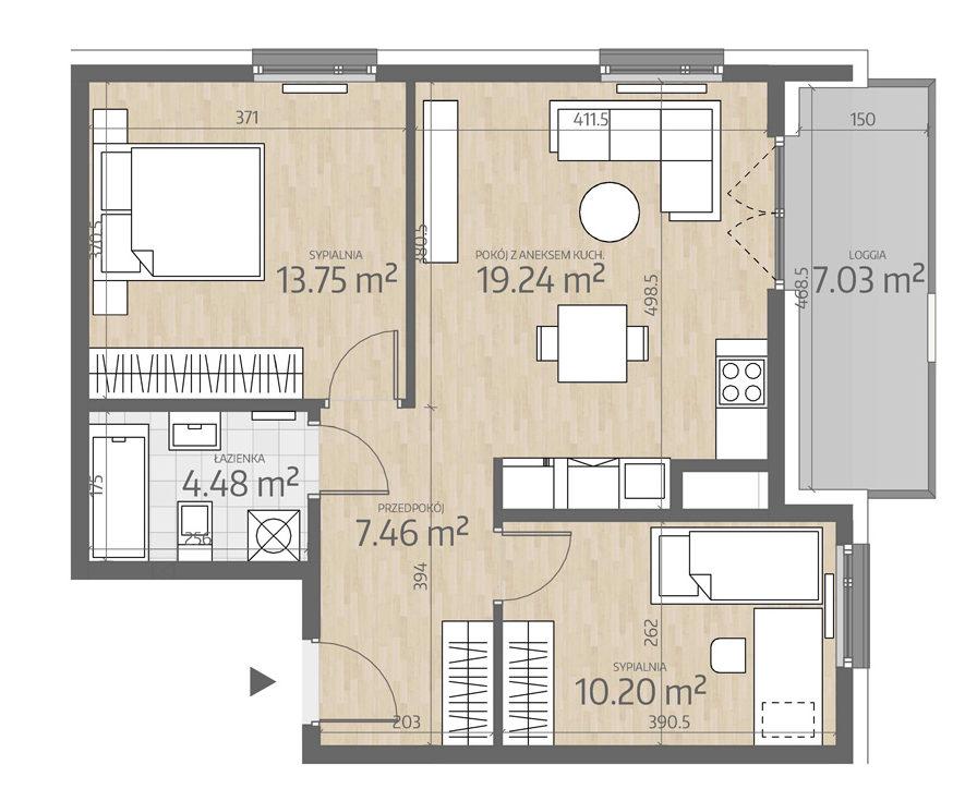 rzut mieszkania numer 127