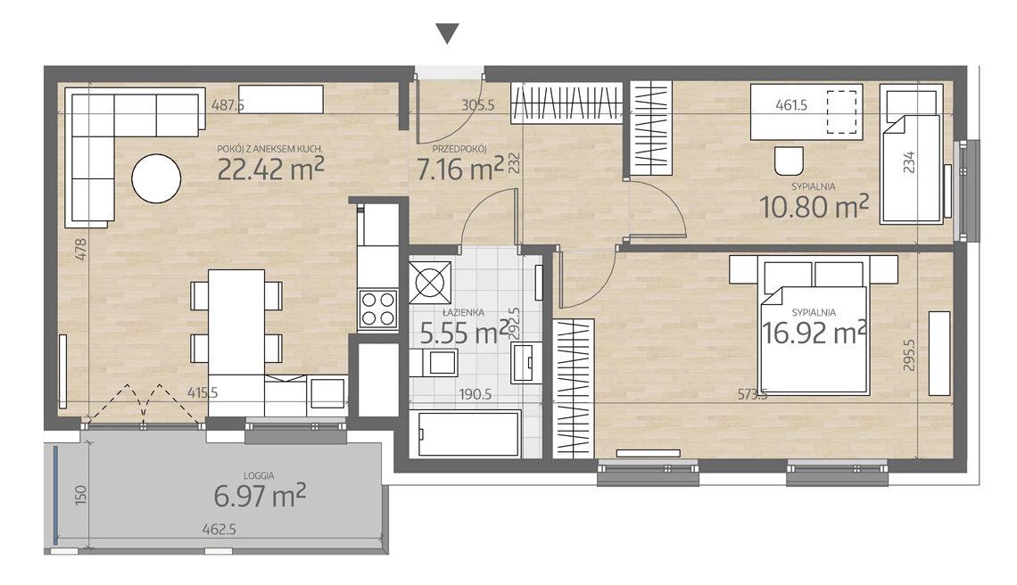 rzut mieszkania numer 128