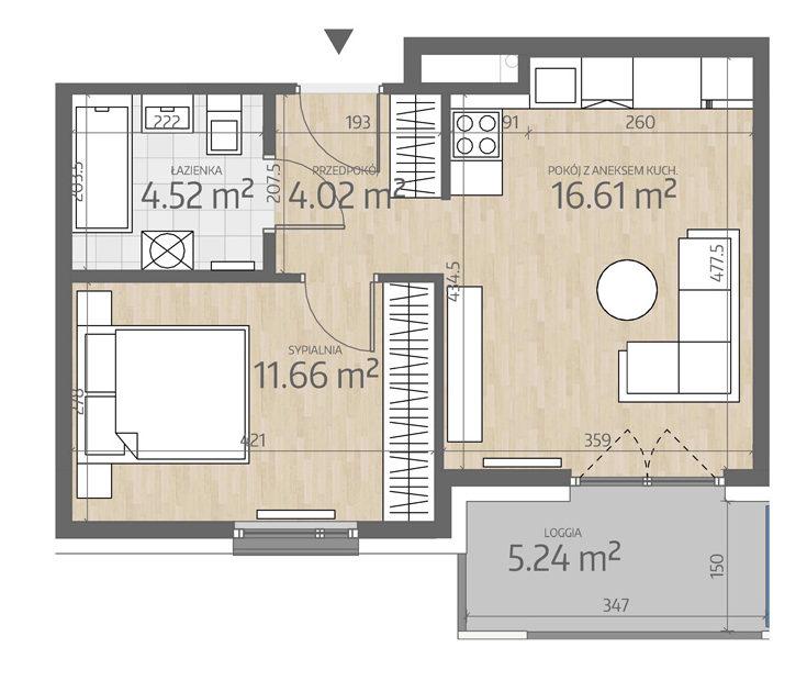 rzut mieszkania numer 129
