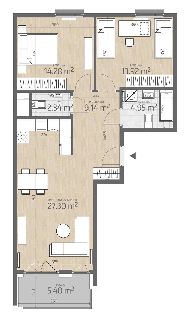 rzut mieszkania numer 130