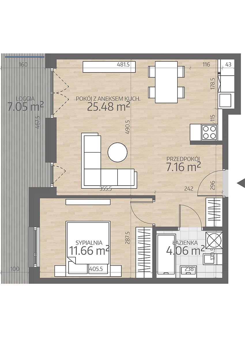 rzut mieszkania numer 1
