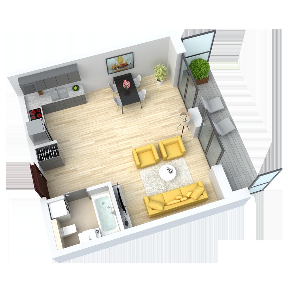 wizualizacja mieszkania numer 7