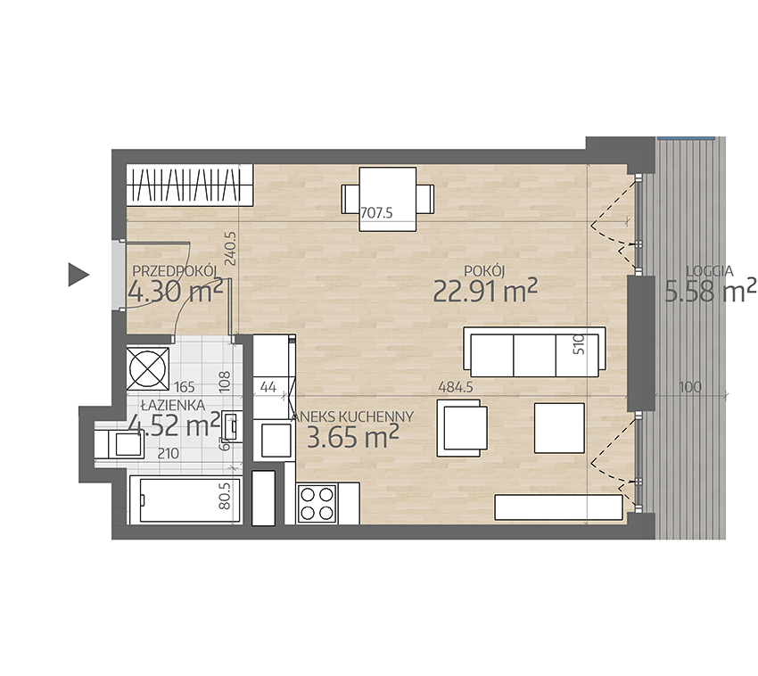 rzut mieszkania numer 8