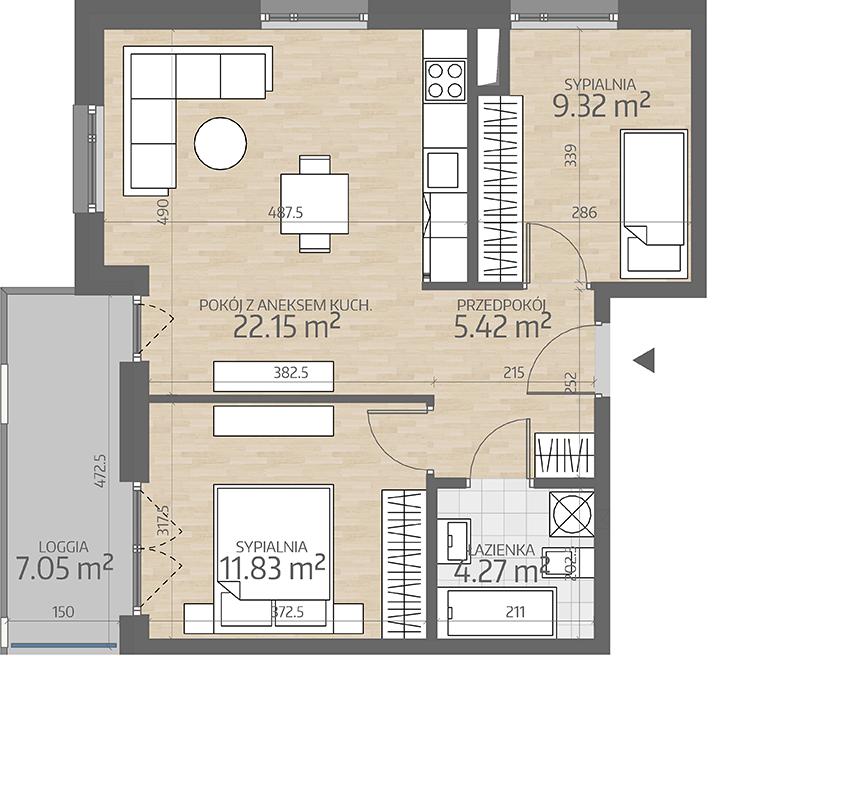 rzut mieszkania numer 13