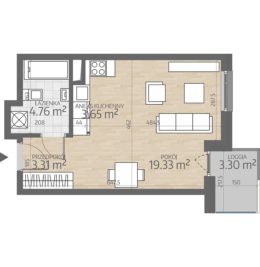 rzut mieszkania numer 17